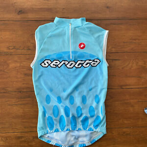 Castelli Mens Small Sleeveless Cycling Jersey S Blue Serotta