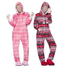 AU Women Hooded Sleepwear Adult Pajamas Set Flannel Jumpsuit Costume Loungewear