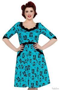 Voodoo Vixen Katnis Blue Flared Cat Womens Dress 1950s Vintage Inspired Fashion