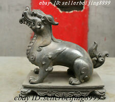 Folk Chinese 100% Pure Bronze FengShui Evil Dragon Foo Fu Dog Lion Kylin Statue