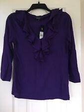 American Living NWT Women's Purple Ruffled V-Neckline 3/4 Sleeve Top Size Small