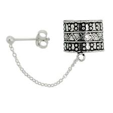 Sterling Silver Ear Cuff Earring with Chain & Ball Stud (One piece)