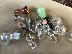 Lot of 17 Vintage Assorted Glass Ceramic Bottle Decanter Tops Stoppers
