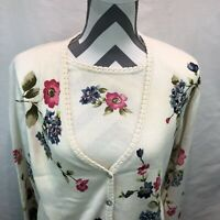 Alfred Dunner Button Front Cream Floral Cardigan Sweater & Shirt Combo Small H17