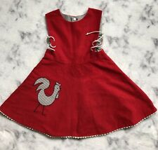 Girls 4 5 Dress Red Gray Reversible Cordroy Lace up sides Chicken Applique