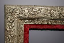 Antique - Gold Gesso - Floral Picture Frame with Red Velvet Inset