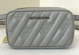 New Michael Kors Rose Belt bag Quilted Vegan Leather Pearl Grey