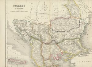 MAP 1850 TURKEY IN EUROPE 27,5cm x 37,5cm - wonderful rare almost 175 years old