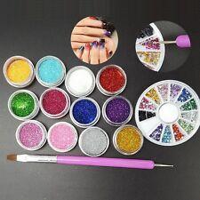 12 Color Fine Glitter+ 2 way Nail Dotting Brush + 1.5mm Rhinestones Nail Art Kit