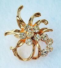 Small gold tone & clear crystal cluster brooch / lapel pin 3cm x 2.5cm