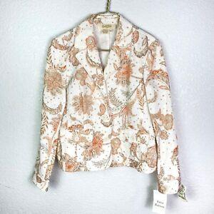 Peck & Peck Womens 14P Blazer Jacket Peach Paisley Stein Mart NWT $109.99