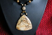 Awesome! African Queen Picture JASPER Pendant Necklace - 2 Pair Earrings