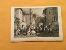 KJ) Original 1834 The Village of Royat France Landscape Annual Engraving
