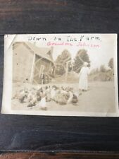 Rare Aged Vintage Sepia Tones Woman With Chicken On the Farm Photo Pic