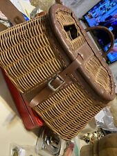 Vintage Wicker and Leather Fishing Creel with ruler- Made in British Hong Kong