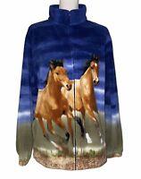 Back in the Saddle Horse Fleece Size Large Blue Full Zip Jacket Coat Equestrian