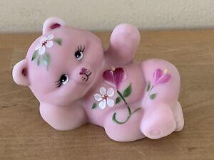 Fenton Burmese Pink Floral Hand Painted Reclining Bear Artist Signed