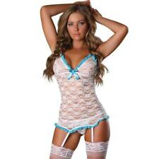 Magic Silk Bridal Lace Chemise and G-String S/M White Blue Wedding Shower Gift