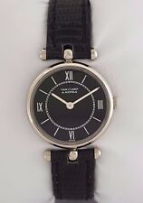 Van Cleef & Arpels VCA 18K White Gold Mechanical Watch Black Strap & Dial