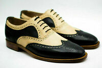 Handmade Men Formal Shoes Leather Two Tone Black & Beige Oxford Brogue Wingtip