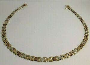 9 CT ROSE/WHITE/YELLOW GOLD LADIES 16.3/4. INCHES LONG NECKLACE. 19.40.GRAMS
