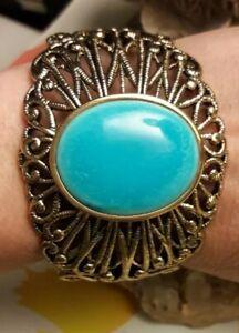 Blue Howolite Bronze Wide Cuff Bracelet Size Large signed Barse Thailand
