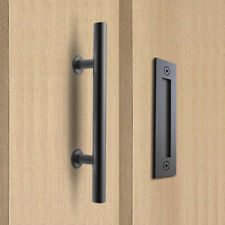 12in. Sliding Barn Door Pull Handle Black Bar Flush Pull handle