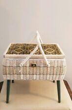 Vintage HIMARK Wicker Stand Basket  Sewing Jewlery Storage Crafts Japan