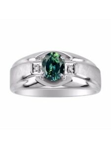 Green Sapphire & Diamond Ring Set in Sterling Silver BSL-MR2867GSW