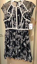NWT $168 Free People Laurel Crochet Embroidered Black Combo Dress size 12