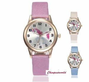 Kids Girls Unicorn Watches 3d Wrist Watch Cartoon Horse Children Pony Pink Black