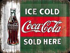 Coca Cola Ice Cold Sold Here Kleines Metallschild 200mm x 150mm (Na )