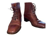 Vtg Leather Granny Booties Fratelli Rossetti 9M Vinctorian style boots Brown