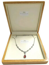 White gold finish red ruby pear cut pendant necklace free postage GIFTBOXED