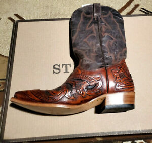 Stetson Mens Leather Tooled Handmade 10.5 D