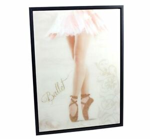Girls Wall Art Portrait Ballerina Gold Glitter Shoes Wall Hanging Display