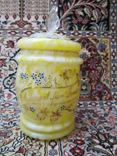 "ANTIQUE YELLOW-WHITE LIDDED SPANGLE GLASS POT""A PRESENT FROM LONDON"" 1800""S"