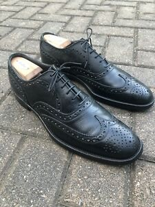 French Shriner black wingtip, spade sole, pebbled, rubber/leather heel, 11.5 AA