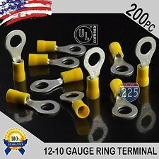 """200 PACK 12-10 Gauge 5/16"""" Stud Insulated Vinyl Ring Terminals Tin Copper Core"""