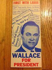 Vintage 1968 Gov. George Wallace For President Pro Labor Union Brochure Pamphlet
