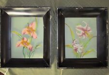 Set of 2 Lighted Reverse Painted Floral Pictures - Metal Frames - Light Box