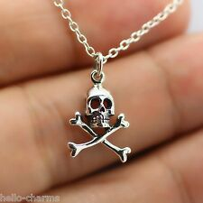SKULL CROSSBONES NECKLACE - 925 Sterling Silver - Pirate Ship Charm Nautical NEW