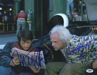 MICHAEL J FOX CHRISTOPHER LLOYD SIGNED BACK TO THE FUTURE 11X14 PHOTO PSA LOA J