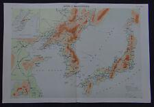 Carte JAPON JAPAN MANDCHOURIE map carta cours géographie ECOLE MILITAIRE 1931