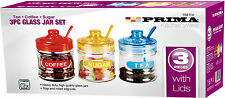 3PC RETRO TEA COFFEE SUGAR KITCHEN GLASS JAR CANISTER STORAGE CONTAINER SWEETS
