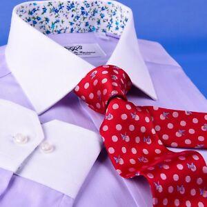 Men's Lilac La Plata Formal Business Dress Shirt Single Cuff Spread Collar Style