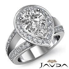 Pear Diamond Engagement Split Shank 2 Row Ring GIA I VS2 Clarity Platinum 1.65ct
