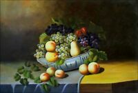 Hand Painted Oil Painting Still Life with Grapes and Peaches 24x36in