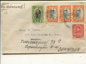 Thailand air mail cover remailed to Denmark 1947