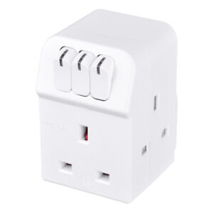 Masterplug Adapter 3 Individually Switched Adaptor Sockets MSWG3 Power